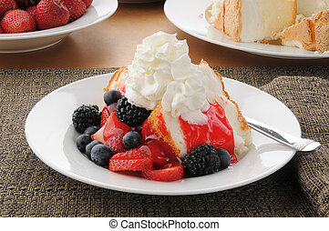 Strawberry shortcake on angle food cake - Delicious...