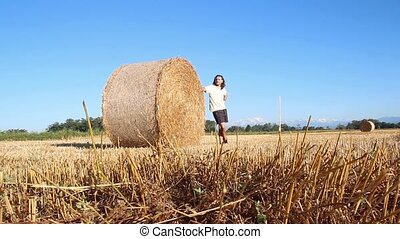 hay bale folies - man and hay bale on a summer morning in...