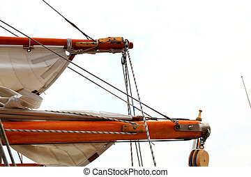 Ship rigging on old yacht - Ship rigging rope on old yacht...