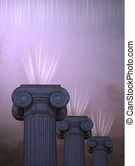 Pilars with ligth in purple the sky
