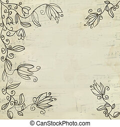 Music vintage floral background with stave