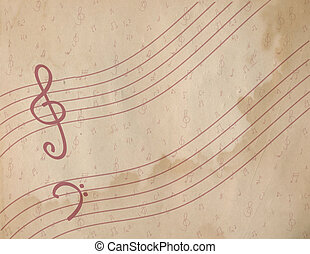 Note paper with staves vintage background