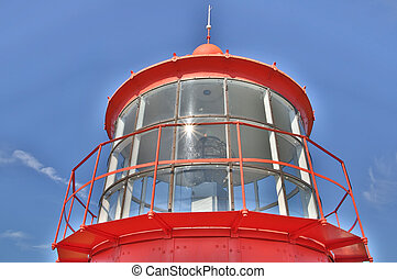 Red lighthouse seen majestic on clear sky - Red lighthouse...