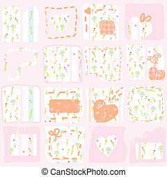 Pink floral patterns background with hearts