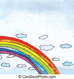Rainbow in the sky background funny