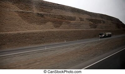 car trip on PANAMERICANA in Peru near by Ica