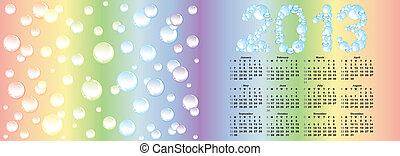 vector calendar 2013  on rainbow bubble background