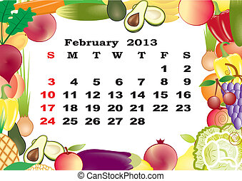 February - monthly calendar 2013 in frame with fruits and vegetables
