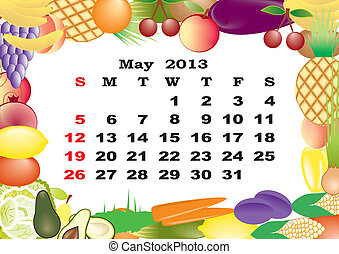 May - monthly calendar 2013 in frame with fruits and vegetables