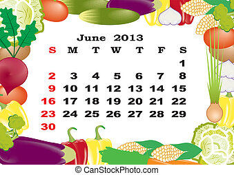 June - monthly calendar 2013 in frame with vegetables
