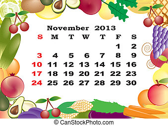 November - monthly calendar 2013 in frame with fruits and vegetables