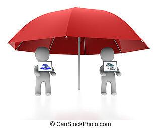 two friends under umbrella