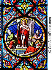 Nativity Scene. Stained glass window in the Cathedral of...