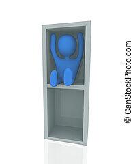 3d person in box