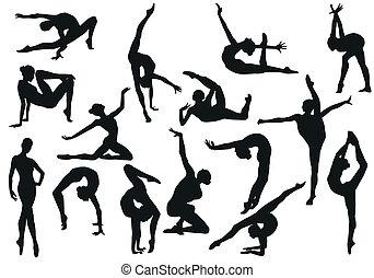 sätta, dans, flicka, balett, silhouettes