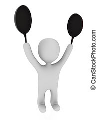 3D chef on white background