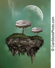 Fantasy mushroom on a rock suspended in the sky