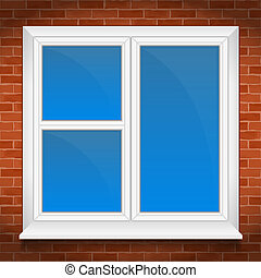 Window with sill in brick wall, vector eps10 illustration