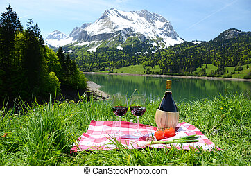 Wine and vegetables served at a picnic on Alpine meadow....