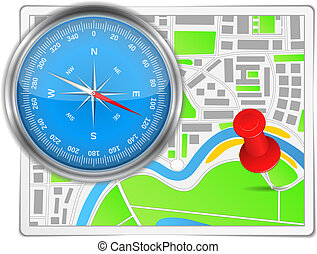 Abstract map with compass and push pin, vector eps10...