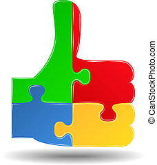 Puzzle thumbs up symbol, vector eps10 illustration