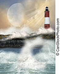 lighthouse in a cliff with big waves