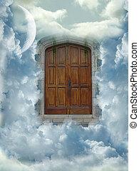 heaven door with clouds and big moon