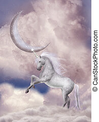 Unicorn in the sky with pink moon