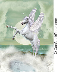 unicorn - Fantasy landscape with unicorn in the ocean