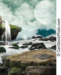 fantasy landscape - Waterfall in a fantasy landscape with...