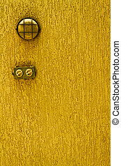 Ohne Licht - Abstract of wall light and a switch on textured...