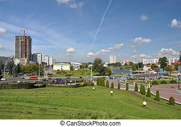 Panorama of Minsk across Svisloch river