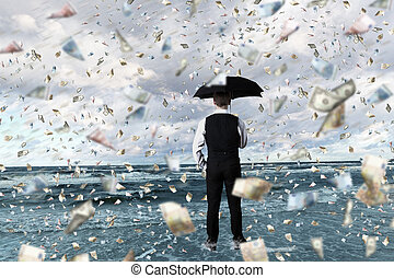 Money rain and businessman with umbrella - Young businessman...