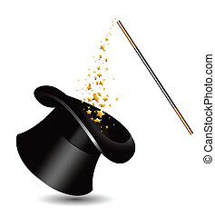 Magic hat and wand with sparkles. vector.