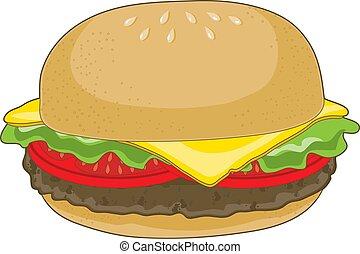 Hamburger - A single hamburger with cheese and tomatoes on a...