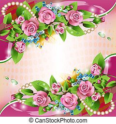 Background with pink roses - Beautiful background with pink...