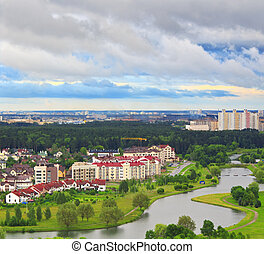 Luxury homes on the banks of the river Svisloch in Minsk...