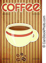 coffee cup - Template menu of coffee - coffee cup on striped...