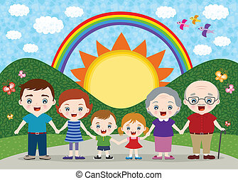family illustration - happy family illustration
