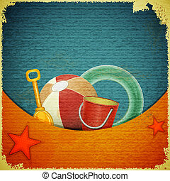 Beach toys on marine background - retro postcard - Beach...