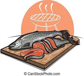 fresco, salmão, corte, tábua