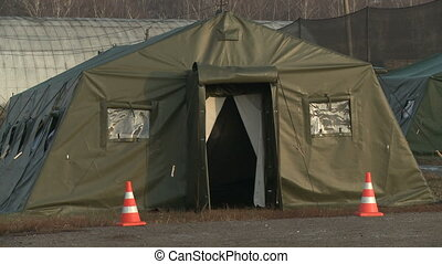 Tent on military camp - View of military camp