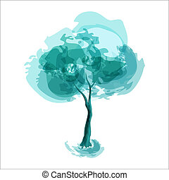 Winter tree abstract illustration of stylized tree winter