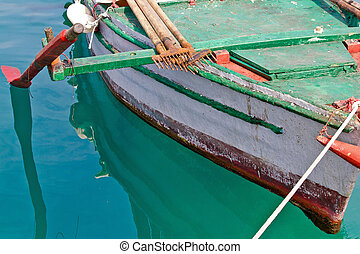 Old wooden fishing boat detail - Old wooden colorful fishing...