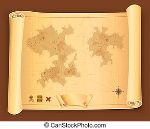Treasure Map On Parchment Scroll