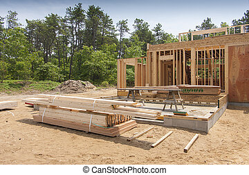 New house construction - Enterior framing of a new house...