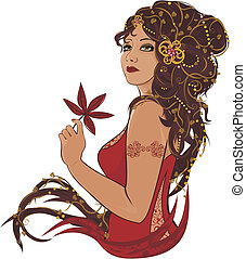 Autumn Lady - Beautiful woman portrait with maple leaves...