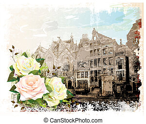 vintage illustration of Amsterdam street and roses. Watercolor style.
