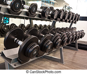 dumbbell in fitness room - Weights, many black dumbbell in...