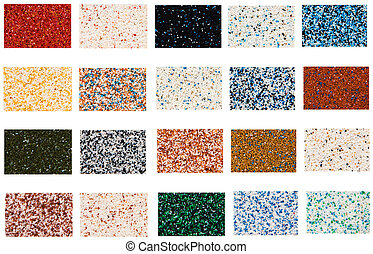 samples of mineral decorative coverings on a white...